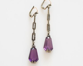 Art Deco Earrings Amethyst, Marcasites, Sterling Gold, Antique Jewelry