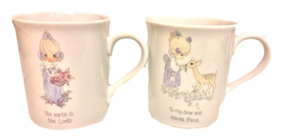 Cute Mug For Her, Set of Two Vintage Coffee Mugs, Enesco Precious Moments Ceramic Mugs, Gift For Friend