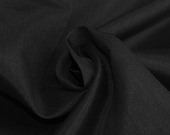Black Shantung Mid-Weight Fabric, DIY Crafts, Decorations, Apparel - 1 Yard Style 3005