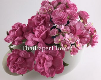 50 Pink 3 Flower Styles- Roses/Carnation /Mini Paper Flowers Scrapbook Craft Wedding Supply 3-ZM3