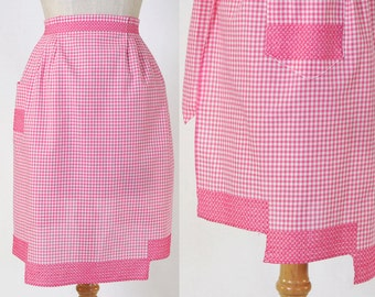 Vintage Pink Gingham Half Apron with Single Patch Pocket