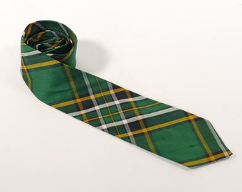 Vintage 1960s Edgar Plaid Necktie - Green, Black, Yellow Plaid - 100% Pure Silk - Made in Scotland - Scottish Tie