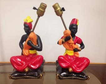Pair of Art Deco Era Chalkware Blackamoor Table Lamps, ca 1930s