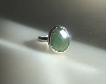 Artisan Sterling Silver Stackable Faceted Aquamarine Ring