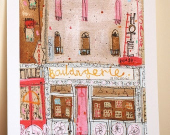 BOULANGERIE PARIS ART, Signed Giclée Print, Mixed Media Painting, Paris Wall Art, Charming French Bakery, Montmartre Shop, French Home Decor
