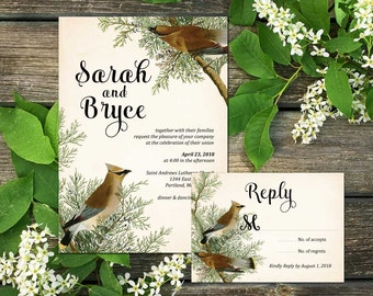 Forest Birds Wedding Invitation Suite; Invitation, Reply, birds, forest, woodland, vintage, rustic