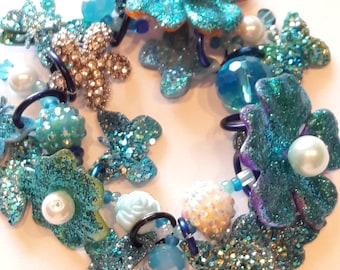 Blue flower bracelet/ Summer bracelet/ beadiebracelet