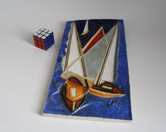 Large tile by Helmut Schäffenacker with three Sailingboats made in the 1950's