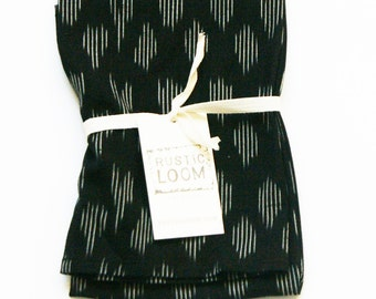 Tea Towel- Handwoven Black Ikat Modern Dot- Kitchen Towel