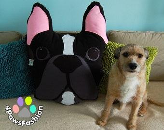 BUZZ black gray white French Bulldog stuffed toy Frenchie pattern pillow  OOAK / 4PawsFashion