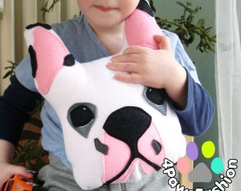 BELLA white black pink French Bulldog stuffed toy Frenchie lover gift dog pattern pillow Bully Art nursery room decor OOAK / 4PawsFashion