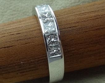 Princess-Cut 3/4 cts Channel Set Diamonds Wedding Band Engagement Ring 18k White Gold