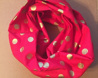 Infinity Scarf, red and gold, polka dot, holiday, children, toddlers, babies