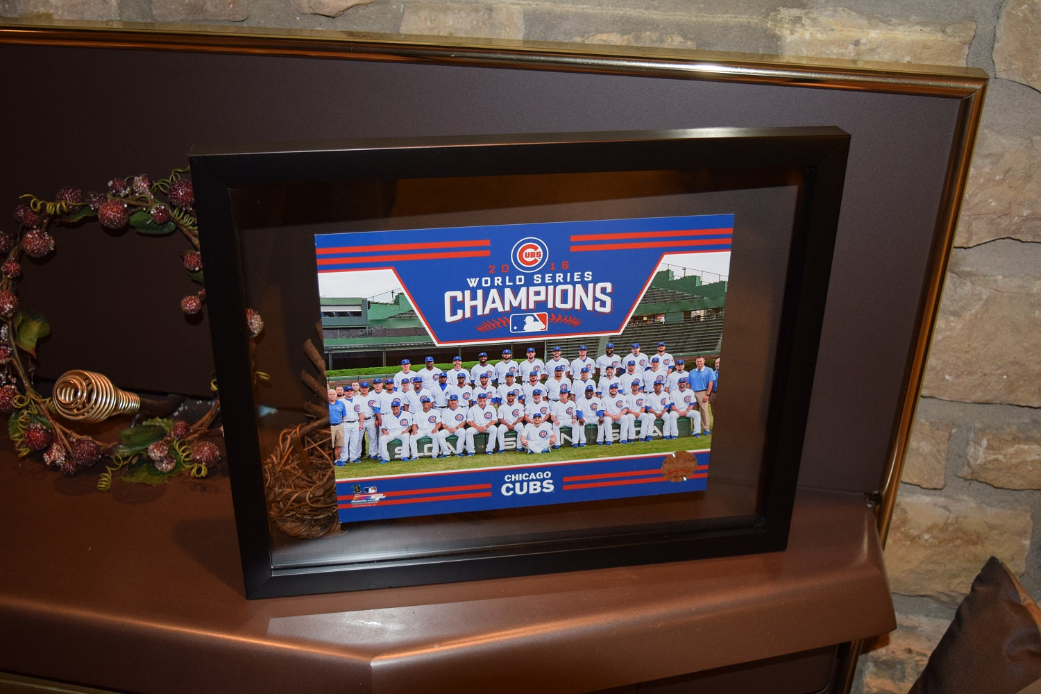Free shipping chicago cubs custom 12x15 framed 2016 world for 12x15 calculator