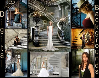 100 Digital Backdrops Photo Overlays Stairway Staircase Backgrounds Canvas Textures for Portrait Shoots (1L)