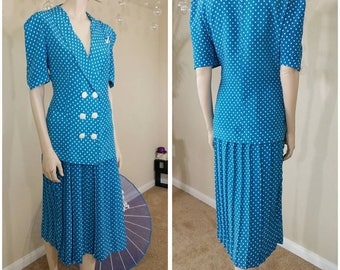 vintage 90s Polka dots suit handmade two pieces