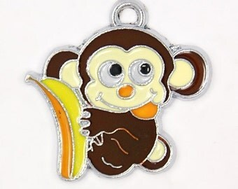 Enamel Monkey Charm, Sold Individually, 27x20mm, Monkey Charm, Monkey Pendant, Ape Charm, Monkey with Banana, Kawaii Charm, Gorilla, ENA073