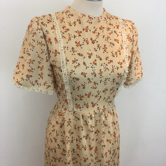 Maxi dress vintage 1970s flowery pinafore style orange pastel floral print long prairie flared 70s festival boho hippy 8 folk crimplene