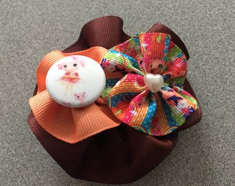 Round Hair Bow with Lalalopsi Cabachon