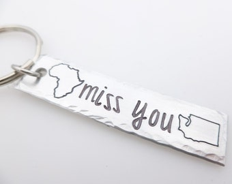 Custom state keychain, Long distance Couples, LDR Gifts, Long distance Friends & Family, Country key chain, moving away gift, going away