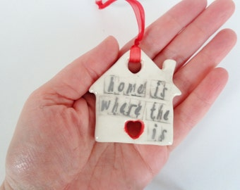Home is where the heart is ceramic house ornament, minimalist primitive pottery housewarming hostess gift