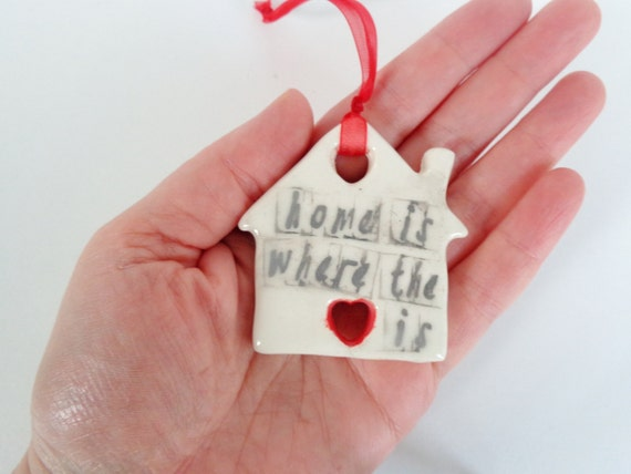 Home is where the heart is ceramic house ornament minimalist for Minimalist gifts for housewarming