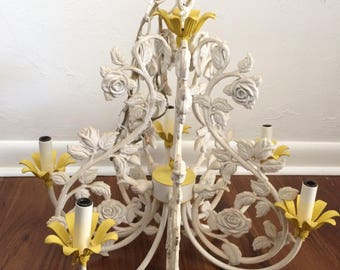 Italian Tole Cast Iron Chandelier, white 5 arm chandelier, vintage lighting, rose floral chandelier