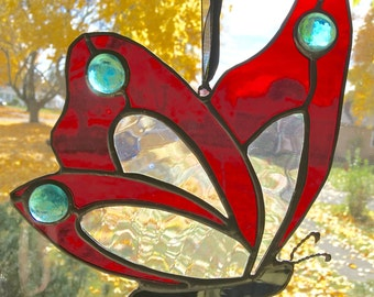 Handmade Stained Glass Butterfly with Glass Beads Sun catcher