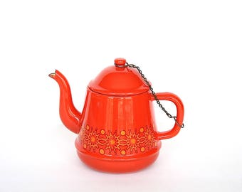 Orange Enamel Tea Kettle - Vintage Enamel Tea Kettle- Vintage Enamel Teapot -Orange Kitchen Decor - Orange Tea Kettle -Vintage Orange Teapot