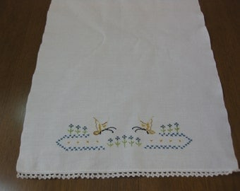 Cotton Embroidered Dish Towel, Vintage Embroidered Tea Towel, Butterflies Towel