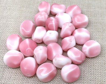 25 Vintage White Pink Austrian Oval Glass Beads 8mm