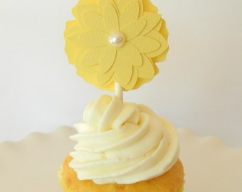 Yellow Flower Cupcake Topper Baby Shower Cupcake Topper Yellow Bridal Shower Flower Cupcake Topper Yellow Wedding Cupcake Topper • Set of 12