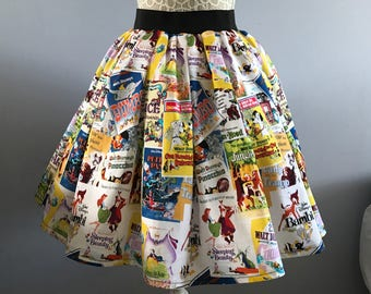 Ladies or girls Disney inspired Movie Posters full skater style skirt