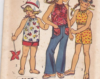 Simplicity 5053 Vintage Pattern Little Girls bell Bottom Pants, Shorts and Halter Top in 2 Variations Size 2 UNCUT