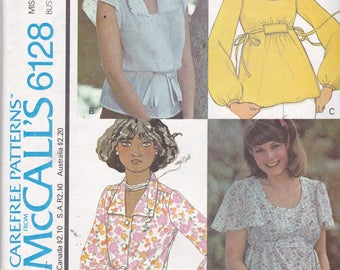 McCalls 6128 Vintage Pattern Womens  Tunic Top in 4 Variations Size 16 UNCUT