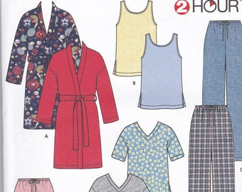 Simplicity 9330 Vintage Pattern Womens Pajamas in Variations and Robe- Size - X Sm, Sm, Med, Lg, X Lg UNCUT