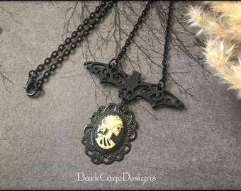 Victorian/ Gothic/ Dark Mori/ Memento Mori/ Lady Lolita Skeleton Cameo Necklace With Black Filigree Bat