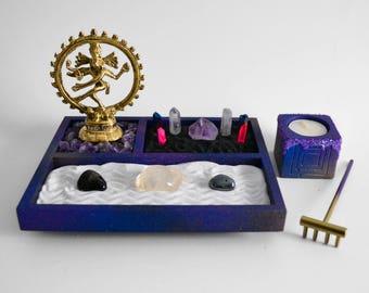 Jardín Zen / / Buda estatua Nataraja / / cósmica bailarina / / Altar de Shiva / DIY Kit / / meditación / / Portavelas / / galaxia / / cristales de cuarzo