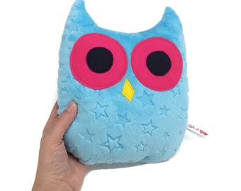 Plush blue and neon pink OWL minky and wool felt, gift for children