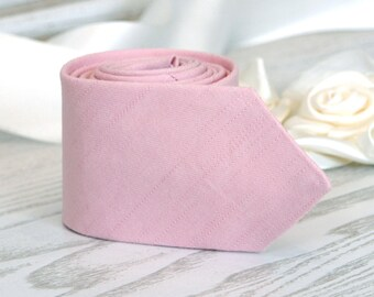 Parfait Pink Tie  Tickled David's Bridal   Pastel pink Men's skinny tie   Pale pink Wedding Ties   Necktie for Men  FREE GIFT