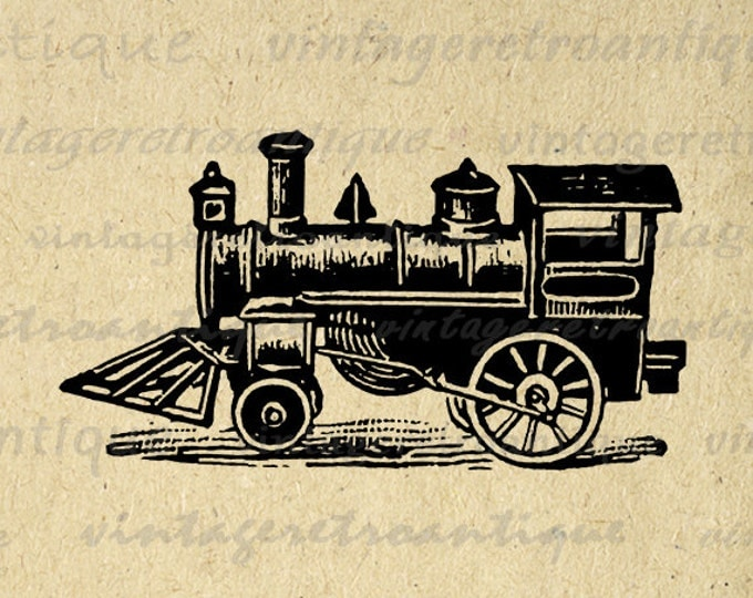 Antique Locomotive Printable Train Graphic Download Antique Illustration Train Digital Image Vintage Clip Art Jpg Png Eps HQ 300dpi No.1325