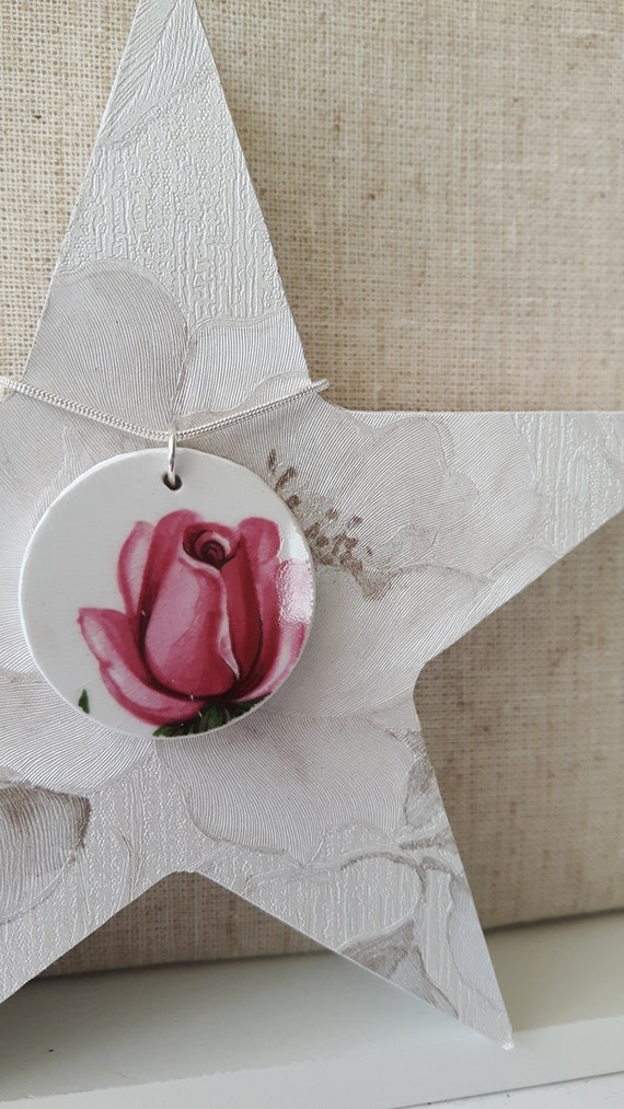 Broken china vintage porcelain pendant.  China shard pendant.  Snake chain.  Unusual pendant.  Floral pendant.  Handmade in Wales UK.