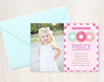 Donut Party Invitation with Photo - Donut Photo Invitation - Doughnut Birthday Invitation - Photo Card Invitation - Donut Party