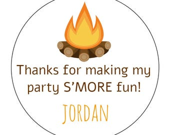 20 Camping S'mores Stickers, S'more Fun, Camping Theme, First Birthday, Tent Stickers, Camping Labels, Favors, Birthday Stickers, Outdoors