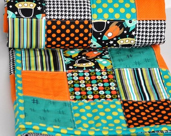 Patchwork Outerspace Spaceship Baby Boy Quilt- Handmade Baby Blanket- Baby Boy Quilt- Orange and Turquoise (Free Shipping + Ready To Ship)