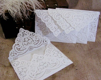 Doily Paper Lace Envelopes, Handmade, White, Wedding Invitation Liner, Tea, 78 Pieces