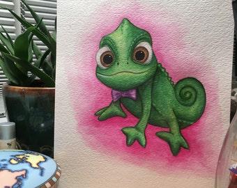Original Tangled Pascal Chameleon Watercolor Painting