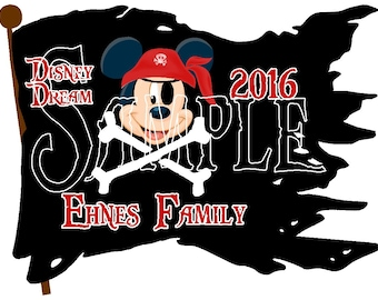 Custom Personalized Mickey Mouse family pirate flag Disney Cruise Line Stateroom Door Magnet