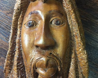 Solid Wood Hand Carved Bob Marley Piece - Bob Marley Fan Carved Face - Great Conversation Piece