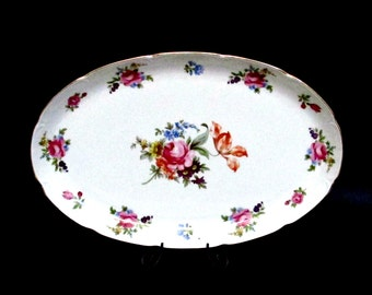 Vintage Serving Platter, GDR, German Democratic Republic, East Germany, Pink Roses, Scalloped Edges, Gold Trim, Farmhouse Cottage Chic Decor